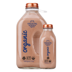 Organic chocolate milk in Half Gallon and Quart glass containers