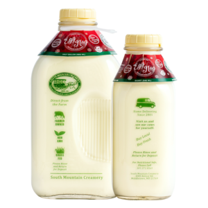 South Mountain Creamery Egg Nog in glass Half-Gallon and Quart containers